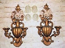 Vintage Homco 2 pc Double Arm Wall Scone Candle Holder # 4104 Hollywood Regency