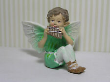 "Mini Figurine Resin Fairy 3"" W X 2 1/2"" H  X 2 1/2"" Deep /Green Playing PanFlute"