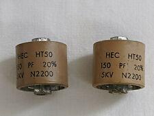 (2 pcs) Hec Doorknob Capacitors Ht50 150 pF 5 Kv Rf Ceramic N2200
