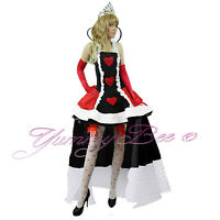 Fancy Dress Costume Alice Wonderland Queen Womens Outfit Hearts Plus Size Deluxe