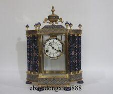 European Retro Bronze Cloisonne Enamel Bell Tower Mechanical Swing Table Clock
