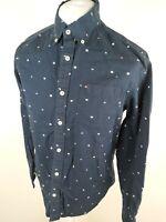 Mens Tommy Hilfiger Shirt All Over Pattern Blue Medium 42 Chest