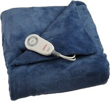 Sunbeam Heated Electric Microplush Throw Blanket with 3 Heat Settings Navy 60x50