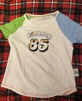 Tommy Hilfiger BOYS T-Shirt White Size Large L Graphic Tee Rainbow ASAP SHIP
