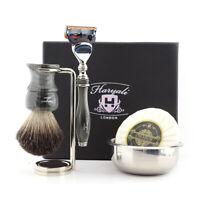 Complete Luxury Men's Travel Shaving Kit Resin Handle 5 Edge Razor & Brush Stand