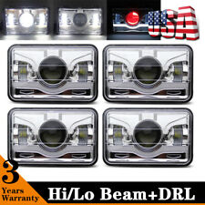 "Chrome Red Demon 4""x6"" LED Headlights Sealed Beam Headlamp HID Xenon Replacement"