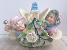 Antique Conta Boehme Boy & Girl In Basket With Roses Bisque Figurine Marked