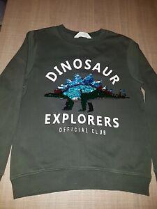 H+M Green Sequined Dinosaur Explorers Sweatshirt.Age 8-10