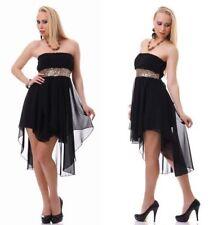 ABITO NERO donna con Paillettes ORO vestito elegante velato da ballo sera party