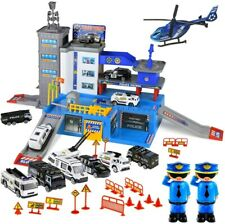 Police Station Parking Lot Car Toys for Boys Matchbox Cars Playsets