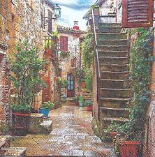 2 Serviettes en papier Village Provence Decoupage Paper Napkins Courtyard