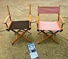 2 Matching Vtg Telescope Maple Wood Directors Folding Chairs +New Canvas Camping