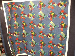 Q#O, Vintage Quilt, Hand Quilted, Crazy Quilt Variation, 100 X 87 in.