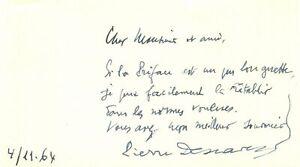 🌓 Pierre DESCAVES (1896-1966) billet autographe ORTF RADIO TÉLÉVISION