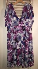 Z9 Kiyonna Sz 3 3X 22/24 Purple Floral Dress-EUC!