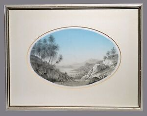 Early 19C Signed Antique Grisaille Drawing Romantic Landscape by Lady