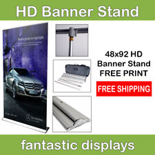 "48"" Retractable Banner Stand Pro HD with Print - Roll Up Trade Show Display"