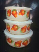 Vintage Kobe Kitchen Nesting Bowls set of 3 with Lids Strawberries