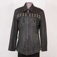 Womens HARLEY DAVIDSON Jacket M Medium Leather Biker Punk Motorcycle Black