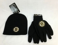 NHL Boston Bruins Knit Beanie Hat and Gloves Snowstorm Winter Lot FREESHIP