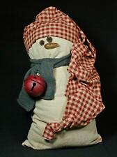 """Hand-Crafted Large 28.5"""" Primitive Flour Sack Snowman With Hat And Scarf"""