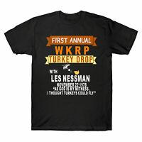Funny WKRP-Turkey-Drop Men's T Shirt Thanksgiving Day Turkey Drop Gift Tee New