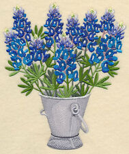 BLUEBONNETS BUCKET STUNNING SET OF 2 BATH HAND TOWELS EMBROIDERED BY LAURA