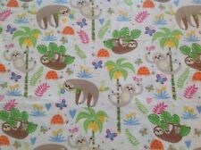 ~ FLANNEL~ Sloth~ Quilting ~ Fabric~Girls ~ Sloths ~ Flannelette~FQ~