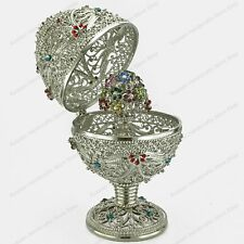 """4,7"""" SILVER EASTER EGG WITH SURPRISE ST-PETERSBURG RUSSIAN TRADITIONS OF FABERGE"""
