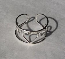 Sterling Silver 925 Toe Ring Filigree Heart Cuff Adjustable