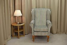 Wingback Fireside Armchair in Eleganza Candy Stripe, Blue & Chocolate  - NEW