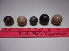 5 LARGE ASSORTED OLD ANTIQUE CLAY COLORED MARBLES NICE CONDITION BENNINGTON? 5