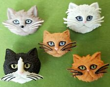Fuzzy FELINES Chat Visage Animal Kitty Kitten Pet Novelty Dress It Up Craft Boutons