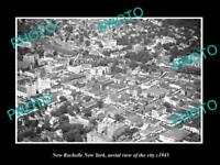 OLD LARGE HISTORIC PHOTO OF NEW ROCHELLE NEW YORK AERIAL VIEW OF CITY c1945 2