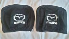 2x MAZDA black headrest seat cushion protective cover