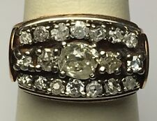 ANTIQUE ENGLISH VICTORIAN ROSE GOLD CLUSTER RING MINE DIAMONDS .71 CENTER SIZE 7