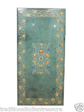4'x2' Green Marble Dining Table Top Flower Hakik Marquetry Inlaid Antique Decor