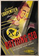 AFFICHE ANCIENNE ORIGINALE DU FILM BATTLING GEO TOBOGGAN CARPENTIER BOXE CI 1933