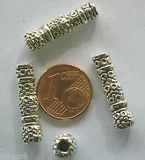 10 perles tube pointillé métal argenté 22x6mm DIY Bijoux Déco MA155