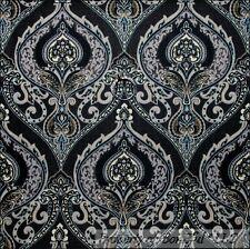 BonEful Fabric FQ Cotton Quilt Black Gray Moda Damask Dress Flower Swirl Scroll