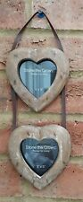 "Double Heart Photo Frame Wall Rustic Hanging fits 3"" Picture Family Photos New"