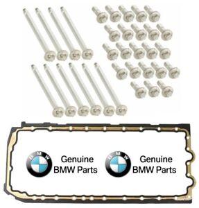 For BMW E60 E82 E90 Engine Oil Pan Gasket w/ Engine Oil Pan Bolt Set SET