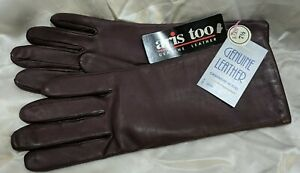 NEW (Aris Too)Genuine Leather Cashmere Blend Women's Gloves Size 7 1/2