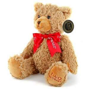 """FAO SCHWARZ BROWN TEDDY BEAR 10"""" RED RIBBON SOFT TOY PLUSH BRAND NEW WITH TAGS"""
