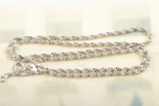 14K White Gold Filled Womens Water Wave Chain Choker Necklace 42cm