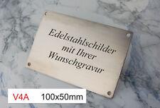V4A EDELSTAHLSCHILD 100x50mm - als Türschild oder Typenschild - mit WUNSCHGRAVUR