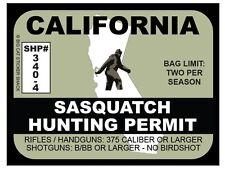 Sasquatch Hunting Permit - CALIFORNIA  (Bumper Sticker)