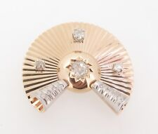 .Vintage 14ct Gold 1.20ct Old Cut Diamond set Deco Style Brooch Val $6680