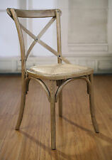 Dining Chair Oak French Provincial Cross Back Chair Seat Cafe Style Hardwood