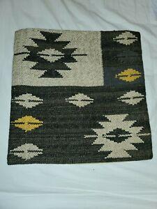 "Handmade Geometric Tribal Boho Wool Kilim Pillow Cover Cotton Back 17.5"" x 17.5"""